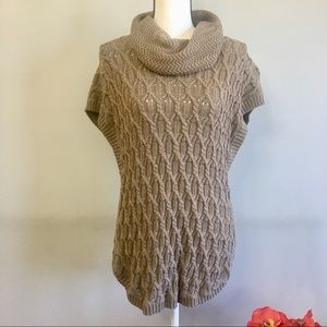 Cowl neck sleeveless knit sweater 100% Cotton